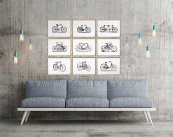 bicycle art, bike art, bike wall art, bicycle wall art, bicycle print, bike print, cycling lover gift, bike lover gift, bicycle wall decor