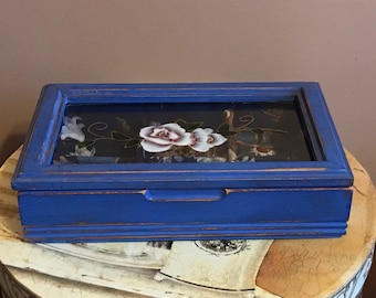 Blue Flower Jewelry Box - Blue and Brown Interior - Glass Flower Top, Ring Holder, Home Decor, Handmade, Shabby Chic, Jewelry Storage