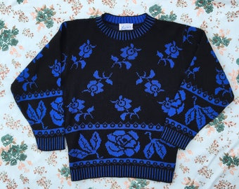 vintage black and blue floral knit sweater made in USA