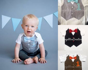 Baby boy first birthday Bow tie and vest onesie outfit - Cake smash props - Personalized embroidered onesie bodysuit - Hipster baby