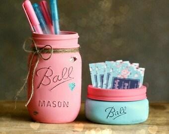 Business Card Holder - Office Decor - Rustic Decor - Pencil Jar - Pencil Holder - Shabby Chic Decor - Dorm Decor - Teacher Gift