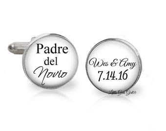 Spanish Padre del Novio Cuff Links - Father of the Groom Wedding Cufflinks - Personalized with Custom Name and Date - Sterling and Stainless