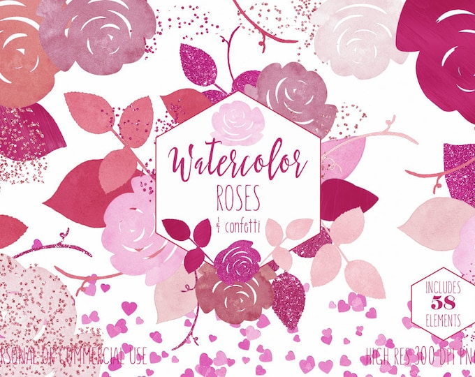 CHIC WATERCOLOR FLORAL Clipart Commercial Use Clip Art Blush Pink Roses Bright Valentine's Day Wedding Heart Confetti Invitation Graphics