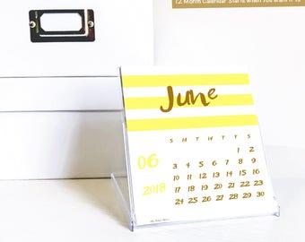 2018 Tischkalender mit CD-Hülle stehen, modernen bunten Streifen, Desktop-Zubehör, Geschenk für Frau oder Freundin, trendige Lehrer