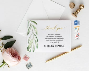 Funeral thank you etsy funeral thank you cards printable funeral thank you notes memorial cards sympathy thank you cards obituary template word pages pdf thecheapjerseys Image collections