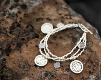 Handmade Beaded Thai Hill Tribe Silver Bracelet with Three Strands + Woven and Spiral Charms - Pure Silver Jewellery - Tribal Silver Jewelry