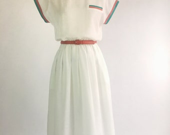 1980s White Button Back Belted Dress by Nola