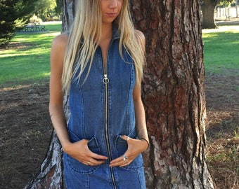 70s denim zip dress