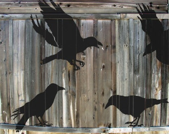 STENCILS for Walls - 4 CROWS or Ravens - Reusable large bird stencils (4pc kit)