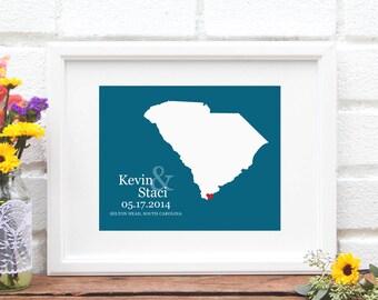 Wedding Gift, South Carolina State Map , Custom Wedding Gift, Bridal Shower Gift, Southern Bride, Shower Gift- Art Print