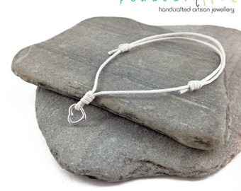 Heart Wish bracelet // white waxed cotton // silver plated heart charm wish bracelet // handmade // ready to ship