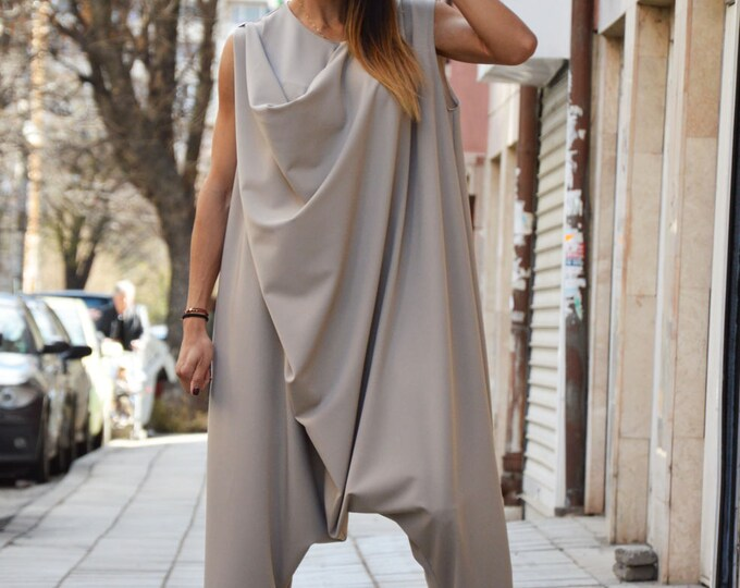 Plus Size Women's Jumpsuit, Beige Jumpsuit With Zipper, Jumpsuit, Daywear, Loose Casual Jumpsuit, Drop Crotch Wide Jumpsuit by SSDfashion