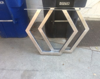 """Pair of hexagon table legs built from 2""""x2"""" .090 square steel"""
