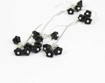 black flower blossoms earrings dangle earrings black long jewelry for women silver earrings sterling silver jewelry for wife  пя257