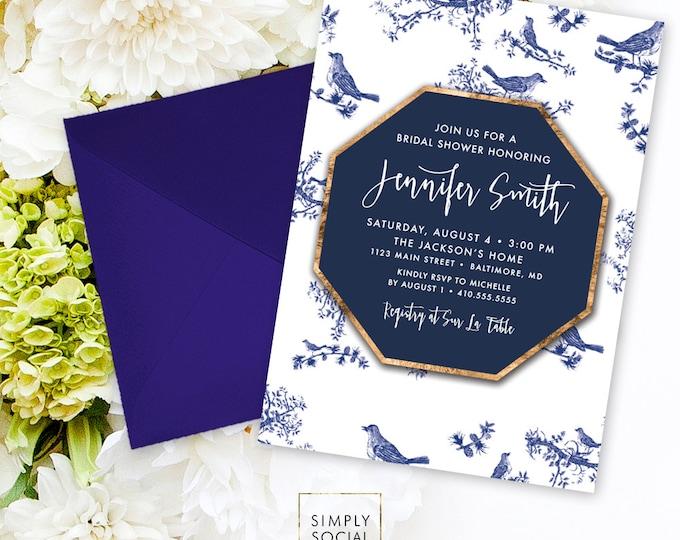 Chinoiserie Bridal Shower Invitation - Chinese Pattern Chinoiserie Pattern Faux Gold Foil Modern Calligraphy Bird Invitation Printable