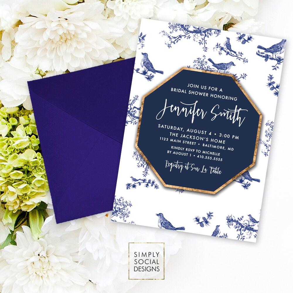 Chinoiserie Bridal Shower Invitation - Chinese Pattern Chinoiserie ...