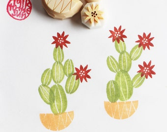 cactus rubber stamps | plant stamp | nature lovers | birthday scrapbooking | holiday gift wrapping | set of 5 | hand carved by talktothesun