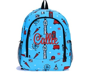 Personalized School Size Backpack Book Bag - Monogrammed Name or Initials -  London Travel Big Ben 779d92cf9407f
