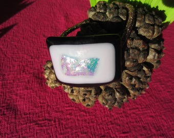 Elastic ponytail in black, pink and silver fused glass