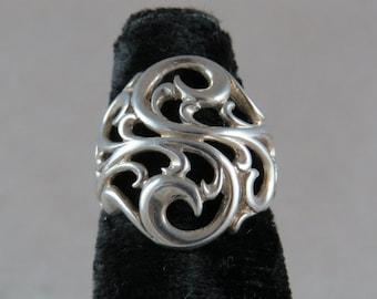 Vintage Swirl Design Sterling Silver Ring Size 6