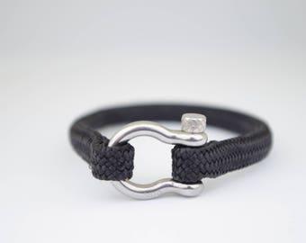 SINGLE BLACK & silver | Sailing bracelet - Custom and Handmade