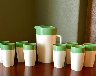 Raffiaware Set Thermo Temp Green and White/Tan Set Pitcher and 8 Tumblers *free coffee cup*