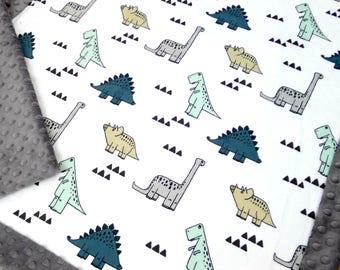 Dino Baby Blanket - Dinosaur Baby Blanket - Dino Blanket - Baby Blanket - Minky Baby Blanket - Baby Boy - Dinosaur Crib Bedding - Boy Minky