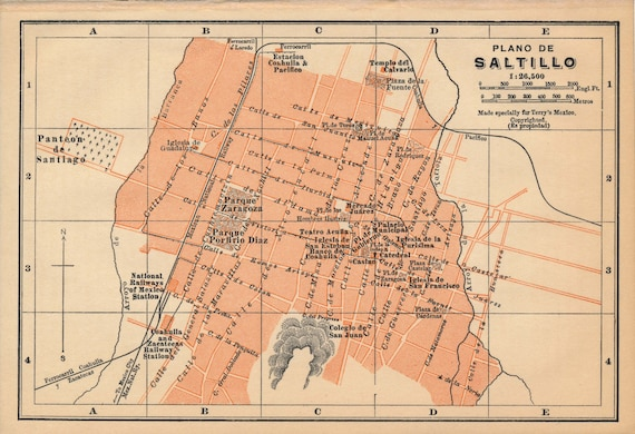 1911 Saltillo Mexico Antique Map