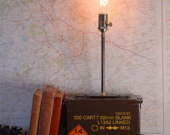 Military ammunition box lamp - table lamp - steampunk lamp - desk lighting - Edison bulb - upcycled lighting - military surplus
