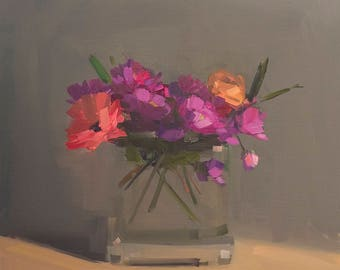 Velvety Mixed Bouquet, Archival Print Reproduction of Amy Brnger Original Oil Painting