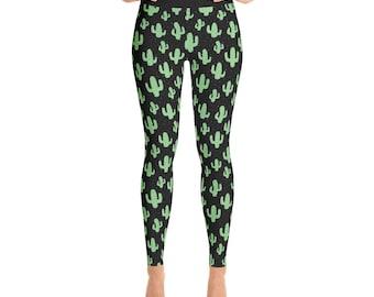 High Waisted Leggings Cactus Print Yoga Pants Tights Exercise Pilates Leggings Gift for Her Funky Leggings Girlfriend Gift Idea for Women