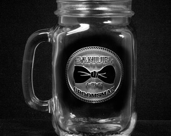 Groomsmen Gifts, Mason Jar Mugs, Country Wedding, Set of 7 (bowmason)