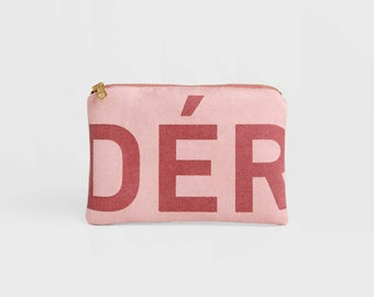Typographic Zip Pouch, Small Pink Suede Bag, Vegan Suede Clutch Bag, Birthday Gift, Travel Pouch, Coin Purse, Blush Cosmetic Bag, Small Gift