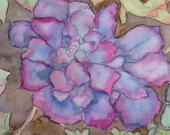 "Original Watercolor, ""Purple Succulent"", 5""x7"" Matted to 8""x10"""
