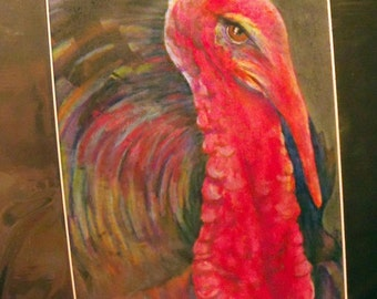 original art drawing color pencil Turkey gobbler