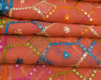 Vintage Dupatta Long Indian Scarf Women Embroidered Fabric Art Salmon Veil Stole VDP24759