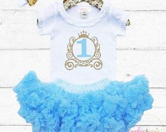 Cinderella Birthday Outfit, 1st Birthday Outfit Girl, One Birthday, Girls Gold Birthday, Birthday Princess, Cinderella Shirt