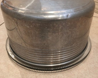 Vintage Aluminum Cake Cover with Cut Glass Plate/Platter