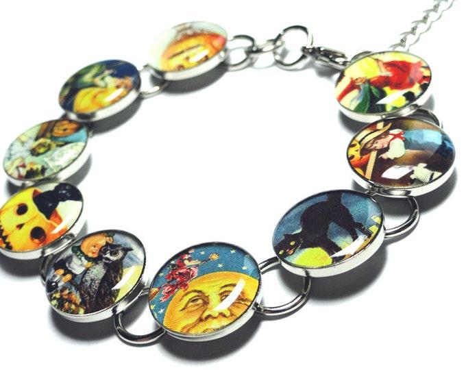 Halloween Bracelet, Handmade Resin Bracelet, Witches, Wiccan Jewelry, Resin Jewelry, Halloween Jewelry, Black Cat, Moon Jewelry