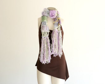Scarf Purple, Green, Cream Scarf Lilac Sage Hand Knit Fringed Scarf with Ivory and Marigold Yellow Splashes