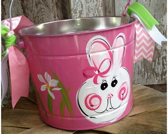 FREE SHIPPING!!! Easter Bucket, Personalized, Hand-Painted, Tin, Pail, Easter Pail