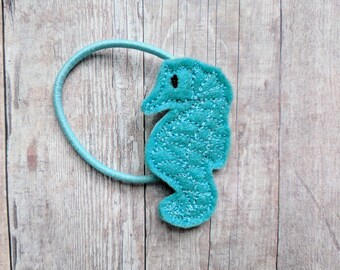 Seahorse Clip, Embroidered Light Blue Felt with Choice of Pin, Band, Headband, Hair Clip, Ponytail, Shoe Clip, Girls Hair Accessories