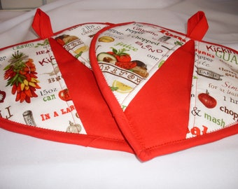 Heart Shaped Pot Holders / Red Pot Holders
