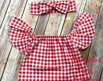 Infant Red and White Off Shoulder Gingham Top|Toddler Red and White Off Shoulder Gingham Top