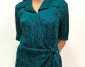 Vintage Green Floral Silk Wrap Short Sleeve Knee Length Dress