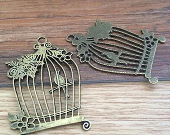 3pieces 59mmx40mm birdcage -  antique bronze charm pendant Jewelry Findings CcA00113