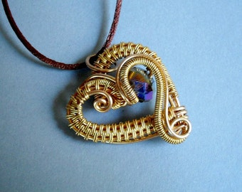 """romantic wire wrapped heart pendant necklace """"Valentine"""""""