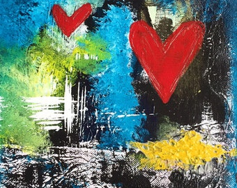 "Midnight Love 8""x8"" Mixed Media Original Art on Cradled Panel, Love, Two Hearts, Abstract, Contemporary, Home Decor, Interior Design"