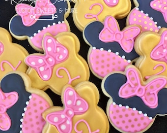 Minnie mouse Cookies, minnie mouse Party, minnie mouse Birthday Party Favors, minnie mouse Cake, pink and gold Minnie Mouse
