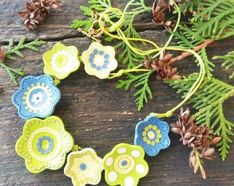 Floral Necklace Statement flowers necklace Boho drop Bib necklace Green Yellow Blue Flowers Gift for her Unique Romantic Floral Jewellery